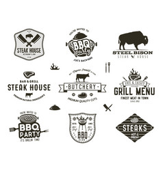 Set of vintage steak house bbq party barbecue vector