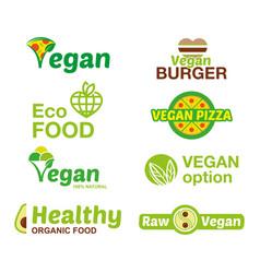 Set vegan logo vector