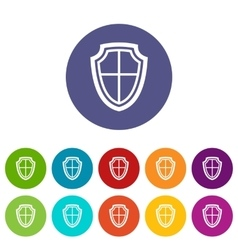 Shield set icons vector image
