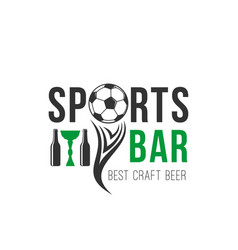soccer sports bar football beer pub icon vector image