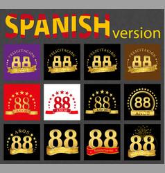 Spanish set of number eighty-eight 88 years vector