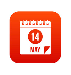 Spiral calendar page 14th of may icon digital red vector