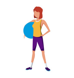 Sport girl holding fitball exercise vector