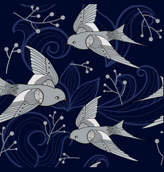 swallow seamless pattern vector image
