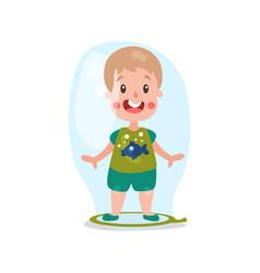 sweet cartoon blonde little boy standing inside vector image