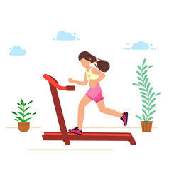 the girl is engaged in sports running on a vector image