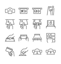 ticket machine line icon set 1 vector image