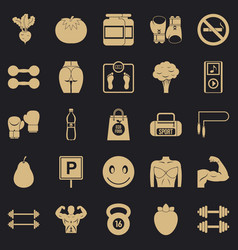 Toned body icons set simple style vector