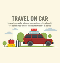 Travel on car concept banner flat style vector