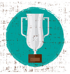 Trophy silver flat icon with star and vector