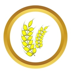 Two stalks of ripe barley icon vector