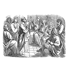 Vintage antique religious biblical drawing vector