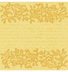 Vintage background with rose doodle border vector image