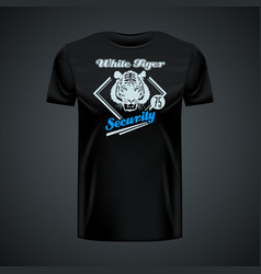Vintage logo white tiger printed on black t-shirt vector
