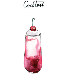 Watercolor cherry milk cocktail vector