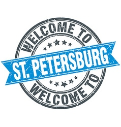 Welcome to St Petersburg blue round vintage stamp vector