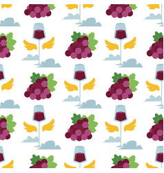 wine seamless pattern with silhouettes of vector image