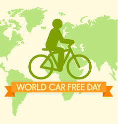 World car free day with bicycle background flat vector