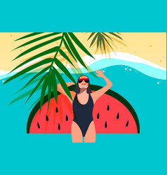 young girl sunbath on beach top view summer vector image