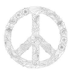 zentangle stylized sign of peace for coloring vector image