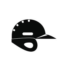 Baseball helmet black simple icon vector image vector image