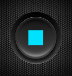 black button with blue stop sign on carbon vector image