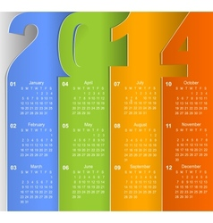 Clean 2014 business wall calendar vector image vector image