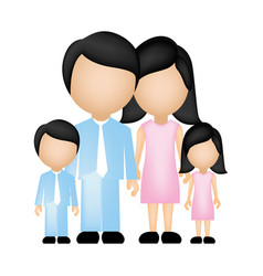 color silhouette faceless family in formal clothes vector image vector image