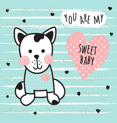 sweet dog card vector image