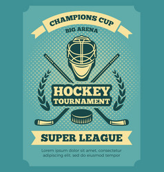 vintage poster of hockey championships vector image vector image