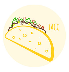 colorful isolated outline taco symbol vector image vector image