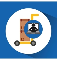 Delivery call centre operator online hand truck vector