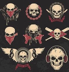 Set of skulls emblems T-shirt print templates vector image