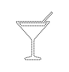 cocktail sign black dashed vector image
