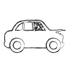 figure crash car and dangerous automobile accident vector image vector image