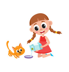 little girl pouring milk into bowl feeding cat vector image