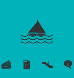 Sailboat icon flat vector
