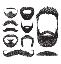 Set of mustache and beard silhouettes vector