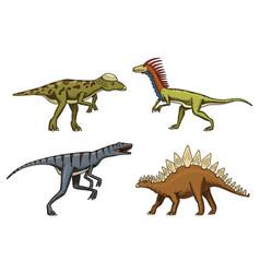 small dinosaurs deinonychus stegosaurus vector image vector image
