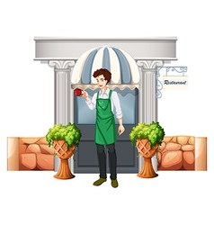 A barista outside the restaurant vector image