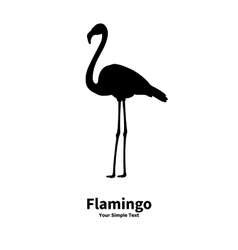 a silhouette of a flamingo vector image