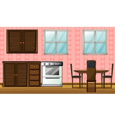 A wooden furniture and gas stove vector image vector image