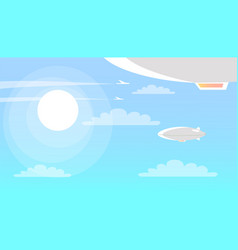 airships flying in sky with clouds and shining sun vector image