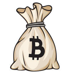 bag with bitcoin sign vector image vector image