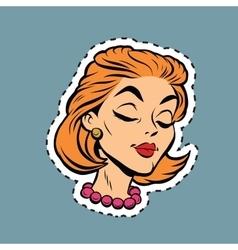 Beautiful modest retro girl head sticker label vector image vector image