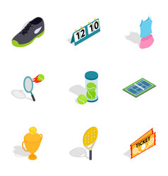 big tennis icons isometric 3d style vector image vector image