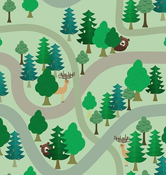 Forest seamless pattern Bear and deer among trees vector image vector image