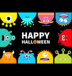 happy halloween greeting card monster frame vector image