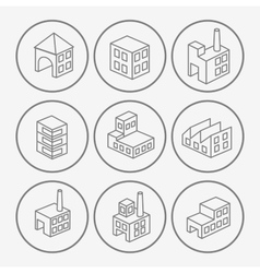 Icons with factories and plants vector image