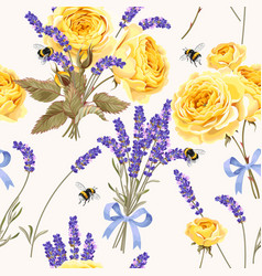 lavender and roses seamless pattern vector image